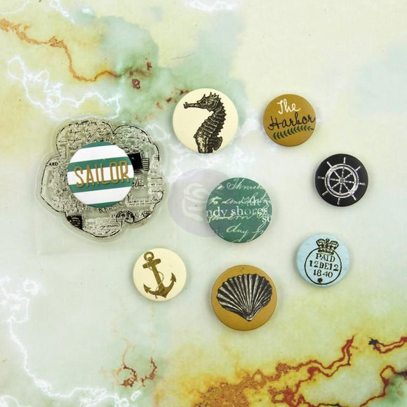 Scrapbooking  Sea Shore Flair Buttons and Clear Stamp Prima Marketing