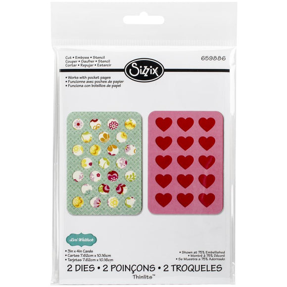 Scrapbooking  Sizzix Thinlit Dies 2pk Hearts and Dots Sizzix