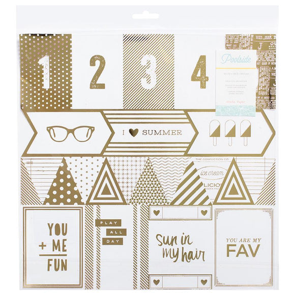 Scrapbooking  Poolside Gold Foil Acetate Cutouts Paper Collections 12x12