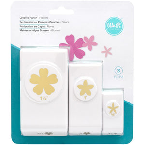Scrapbooking  We R Memory Keepers Layering Flowers Punches 3/Pkg tool