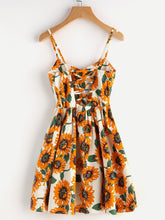 Load image into Gallery viewer, Random Sunflower Print Crisscross Back A Line Cami - Apollo Innovations