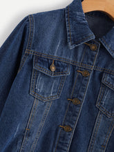 Load image into Gallery viewer, Ripped Trucker Denim Jacket