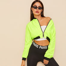 Load image into Gallery viewer, Neon Green Zip Through Crop Bomber Jacket