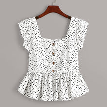 Load image into Gallery viewer, Confetti Heart Print Ruffle Hem Blouse - Apollo Innovations