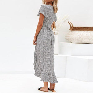 2020 Summer Dot Print Maxi Dresses Boho Style Split Long Beach Dress - Apollo Innovations