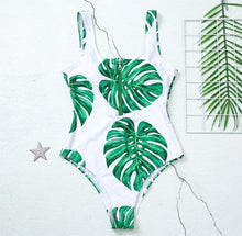 Load image into Gallery viewer, Green Tropical Printed Zipper Swimwear - Apollo Innovations