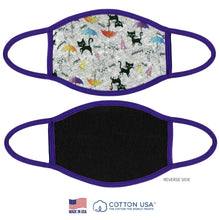 Load image into Gallery viewer, 100% COTTON MADE IN THE USA CAT WITH UMBRELLA WHITE FABRIC FACE MASK - Apollo Innovations