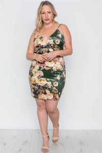 Plus Size Hunter Green Velvet Cami Floral Bodycon - Apollo Innovations