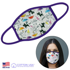 100% COTTON MADE IN THE USA CAT WITH UMBRELLA WHITE FABRIC FACE MASK - Apollo Innovations