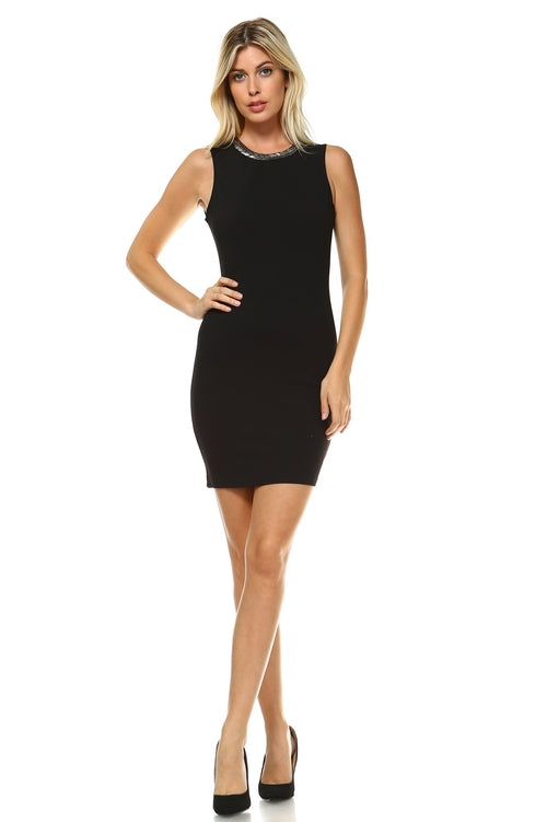 Women's Beaded Neckline Fitted Dress with Back Cut