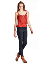 Load image into Gallery viewer, Women's Sweater Tank with Suede & Bead Trim