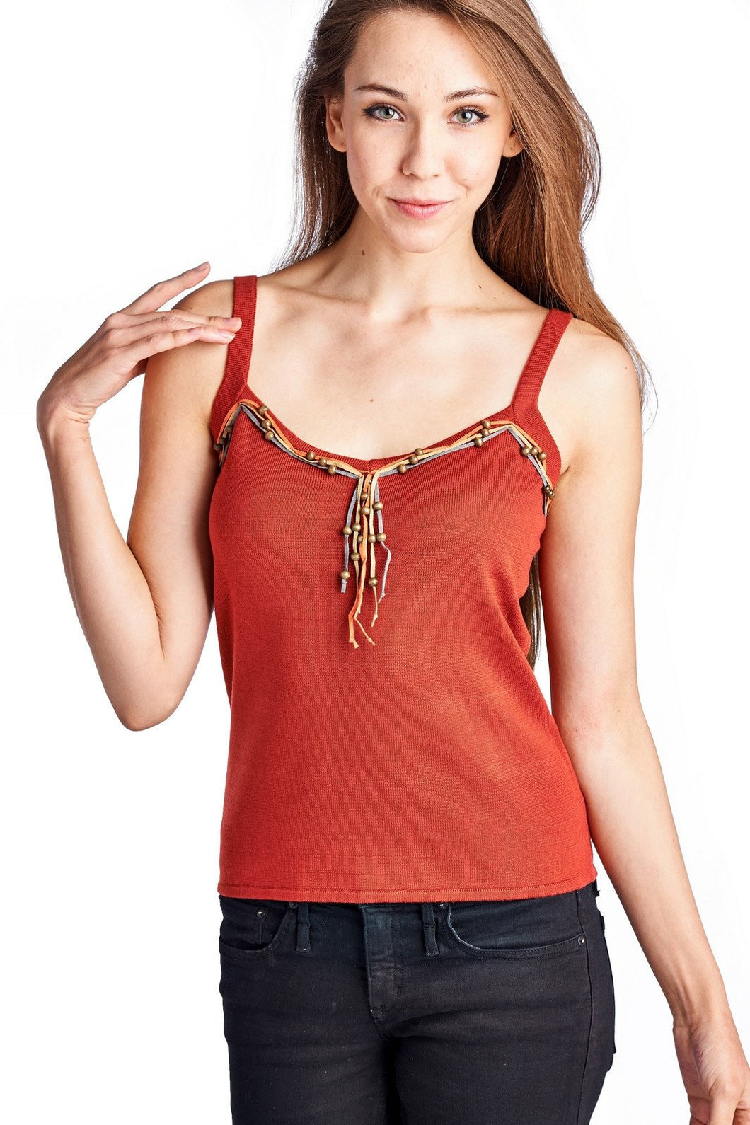 Women's Sweater Tank with Suede & Bead Trim