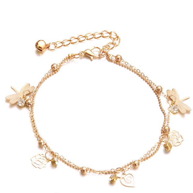 Double Chain Dragonfly Anklet - Apollo Innovations