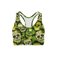 Load image into Gallery viewer, Green Sugar Skulls Back Color Sports Bra - Apollo Innovations