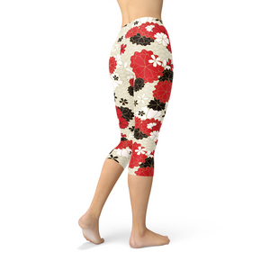 Womens Japanese Cherry Blossom Capri Leggings - Apollo Innovations