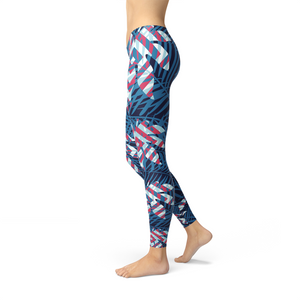 Blue Tropical Leaf Leggings for Women - Apollo Innovations