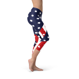 Womens American Flag Capri Leggings - Apollo Innovations