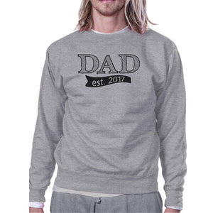 Dad Est 2017 Unisex Grey Sweatshirt Fathers Day - Apollo Innovations