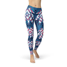 Load image into Gallery viewer, Blue Tropical Leaf Leggings for Women - Apollo Innovations