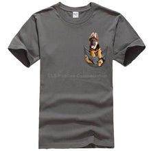 Load image into Gallery viewer, German Shepherd In Pocket T Shirt Dog Lovers Black Cotton Men Made in USA Cartoon t shirt men Unisex New Fashion tshirt - Apollo Innovations