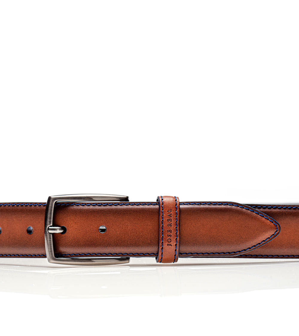 BROWN WITH BLUE STITCHING BELT