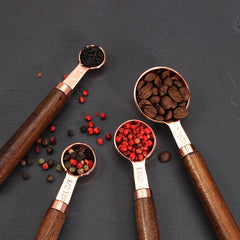 Wood Handle Copper Measuring Spoons