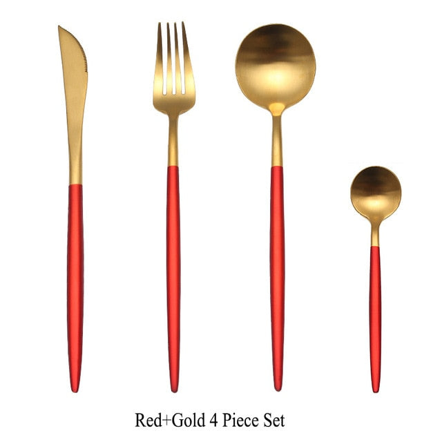 Stainless Steel Black and Gold Cutlery Set