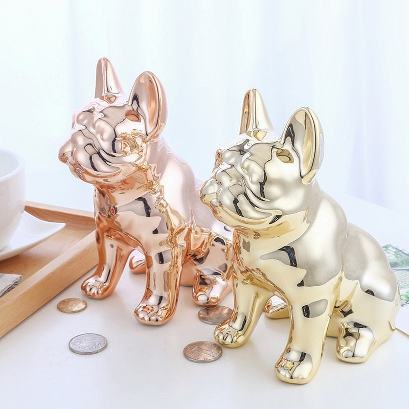 Rose Gold Ceramic Puppy Piggy Bank