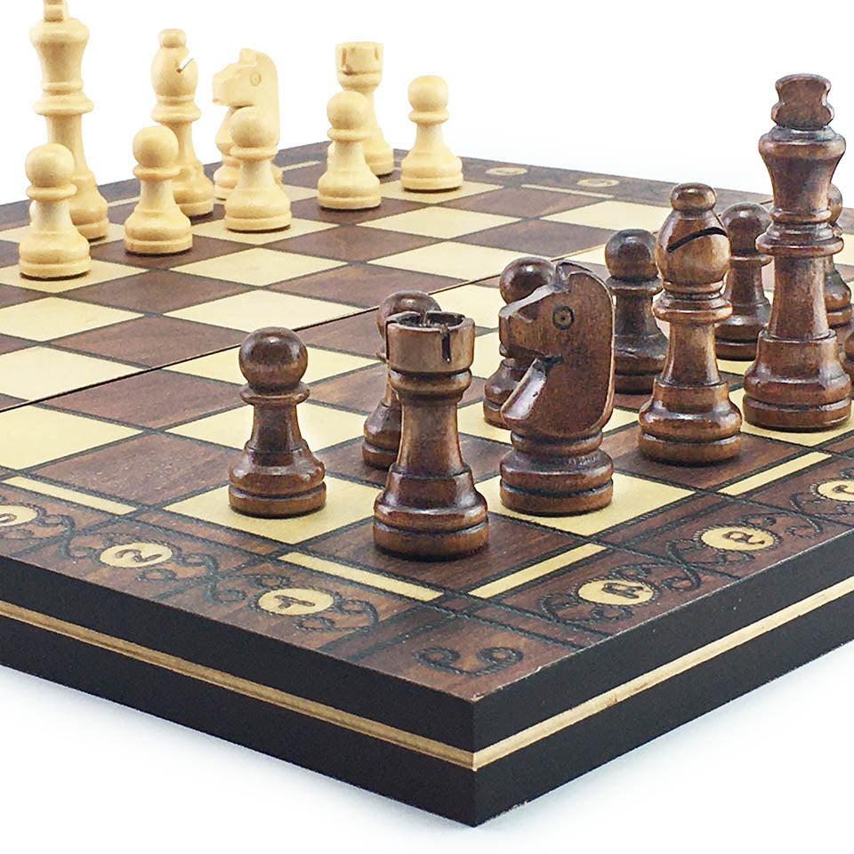 Magnetic Wooden Chess Checkers Set