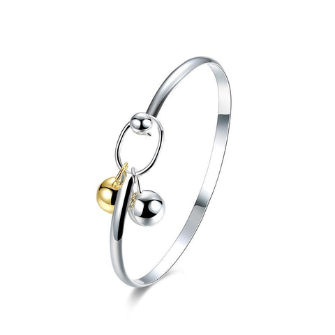 Bevellier Bracelets Dangle Beads Bangle in 18K White Gold Plated