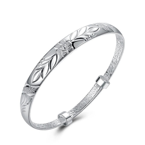 Bevellier Bracelets Floral Diamond Laser Cut Bangle in 18K White Gold Plated