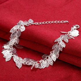 Bevellier Bracelets Leaf Bracelet in 18K White Gold Plated