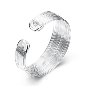 Bevellier Bracelets Stacked Line Bracelet in 18K White Gold Plated