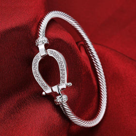 Bevellier Bracelets Swarovski Crystal Lucky Horseshoe Bangle in 18K White Gold Plated