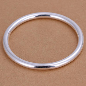 Bevellier Bracelets White Gold Plated Solid Bangle