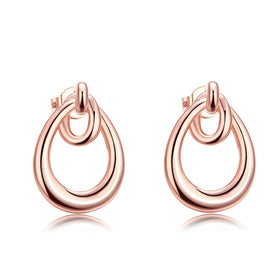 Bevellier Earrings 18K Rose Gold Plated Double Hoop Studded Earrings