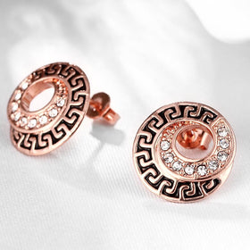 Bevellier Earrings 18K Rose Gold Plated Medallion Stud Earring