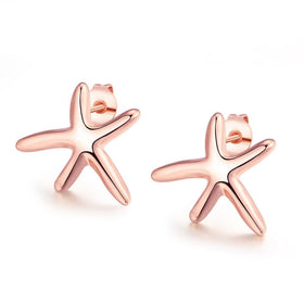 Bevellier Earrings 18K Rose Gold Plated Starfish Studded Earring