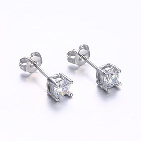 Bevellier Earrings 18K White Gold Plated Classic Simulated Diamond Earrings