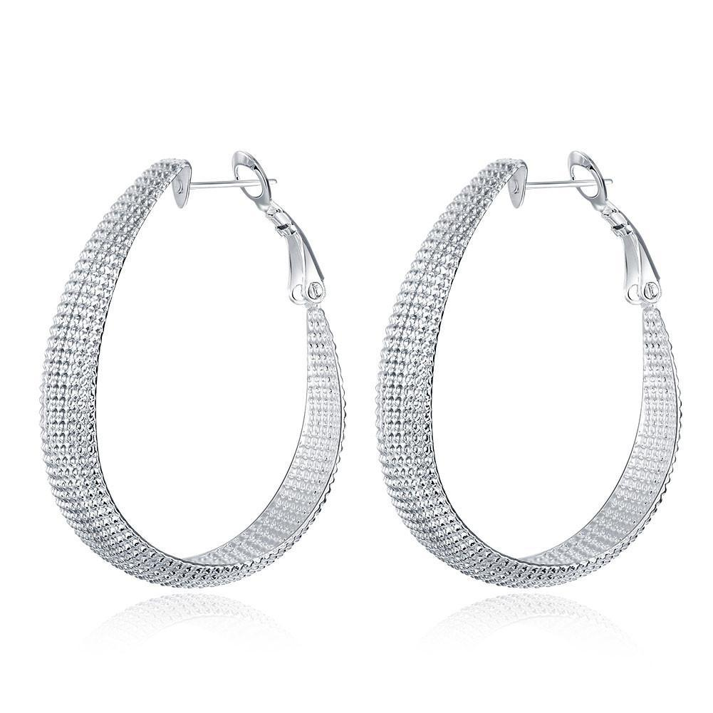 Bevellier Earrings Beaded Hoop 4mm Earring in White Gold Plated