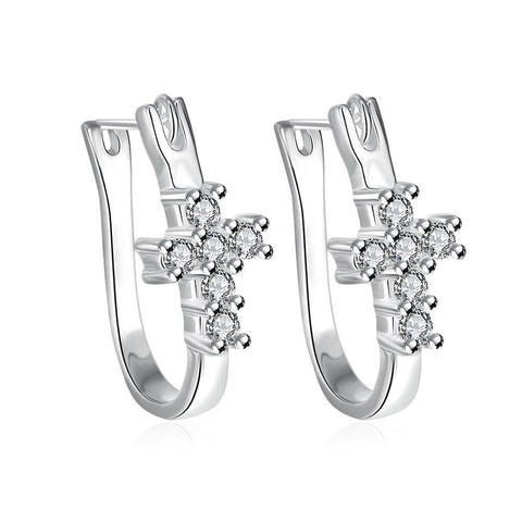 Bevellier Earrings Swarovski Crystal Pave Cross Earring in White Gold Plated