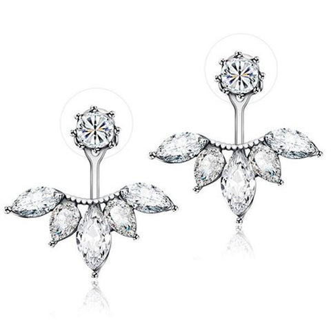 Bevellier Earrings White Gold Exquisite Leaf Stud Earrings