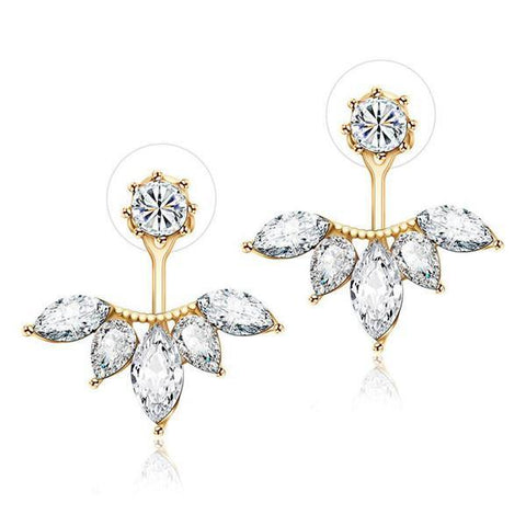 Bevellier Earrings Yellow Gold Exquisite Leaf Stud Earrings