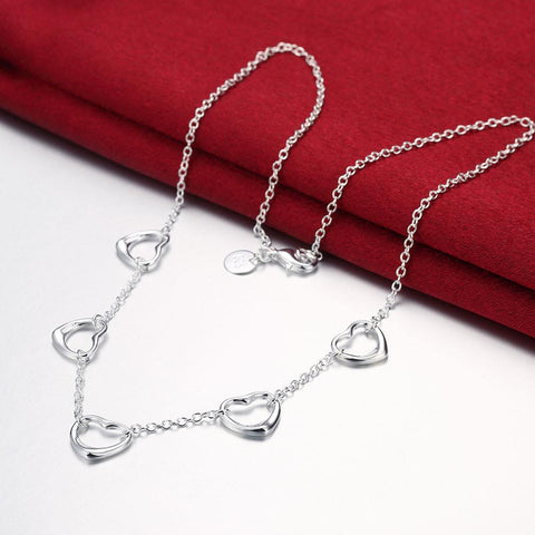 Bevellier Necklaces 5 Connecting Hearts Necklace in 18K White Gold Plated