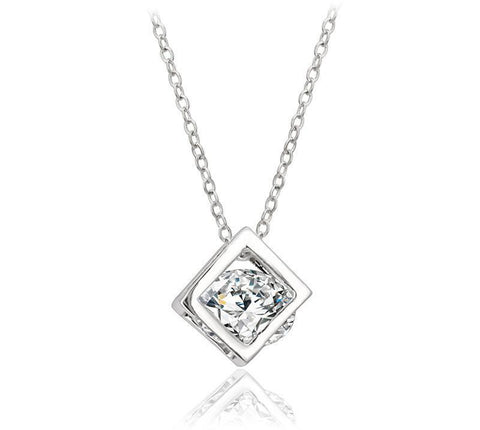 Bevellier Necklaces Cube Necklace White Gold Plated