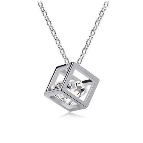 Cube Necklace White Gold Plated