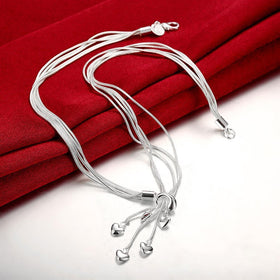 Bevellier Necklaces Heart Drop Necklace in 18K White Gold Plated