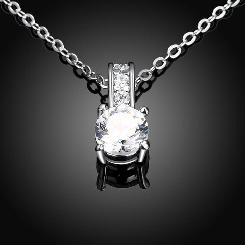Bevellier Necklaces Swarovski Crystal 18K White Gold Plated Diamond Simulated Necklace + Free Stud