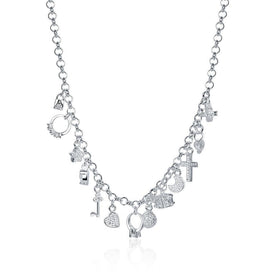 Bevellier Necklaces Swarovski Crystal Charms Necklace in 18K White Gold Plated