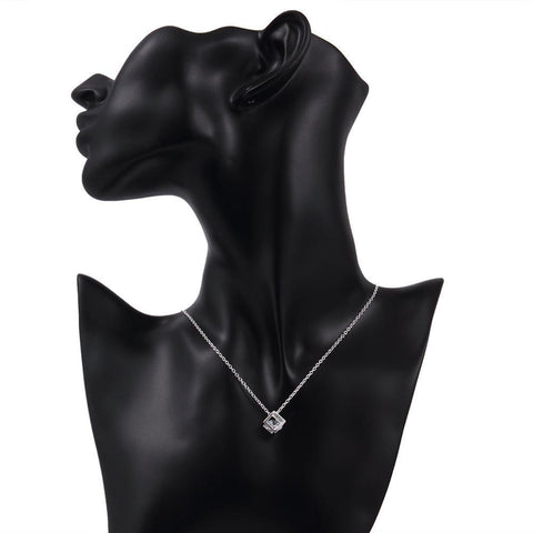 Bevellier Necklaces Swarovski Crystal White Topaz Necklace in 18K White Gold Plated